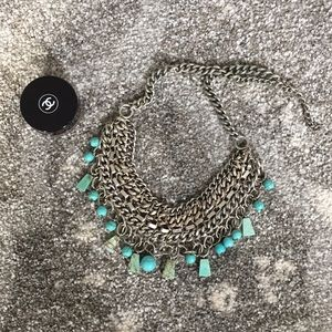 Silver Chain and Turquoise Beaded Necklace